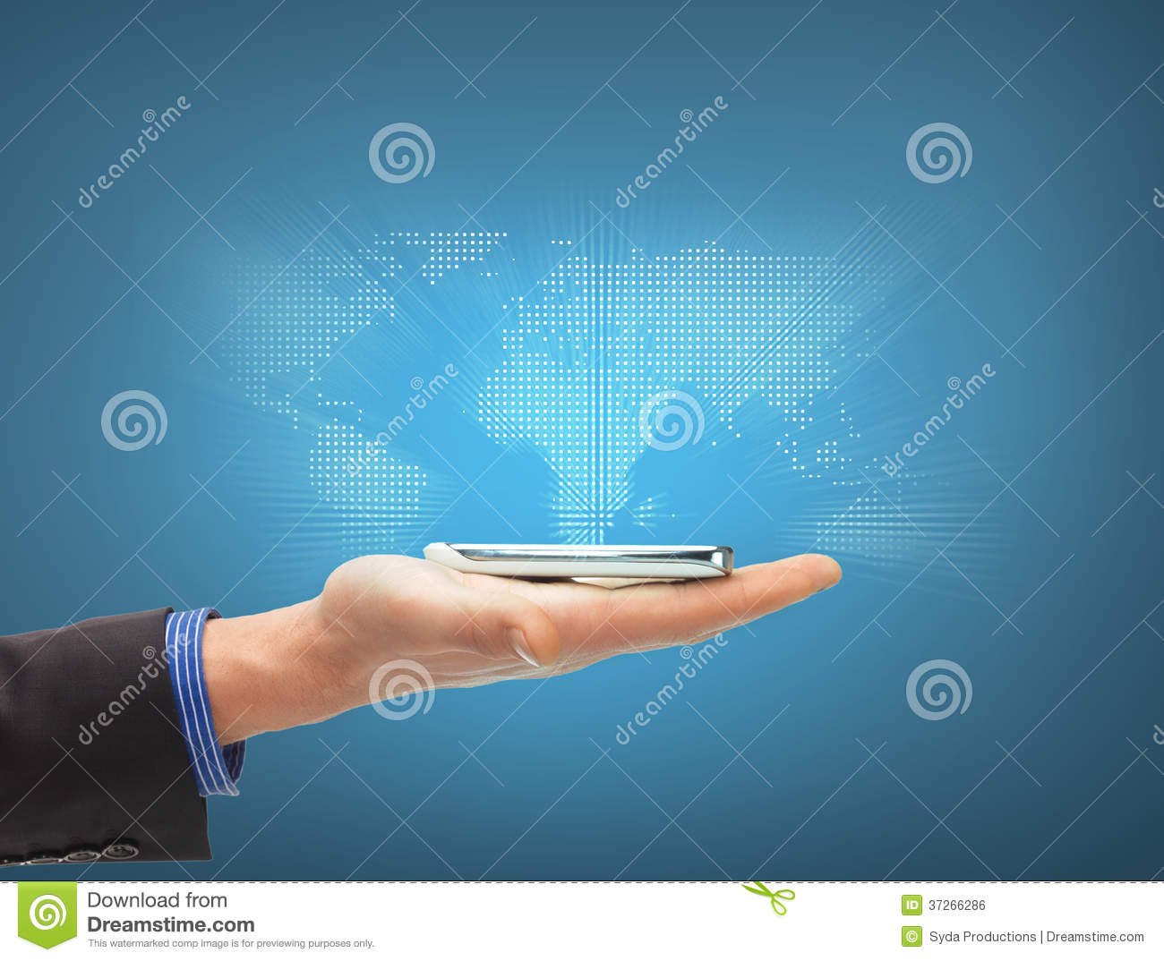 Man hand with smartphone and virtual world map stock photo image man hand with smartphone and virtual world map gumiabroncs Choice Image