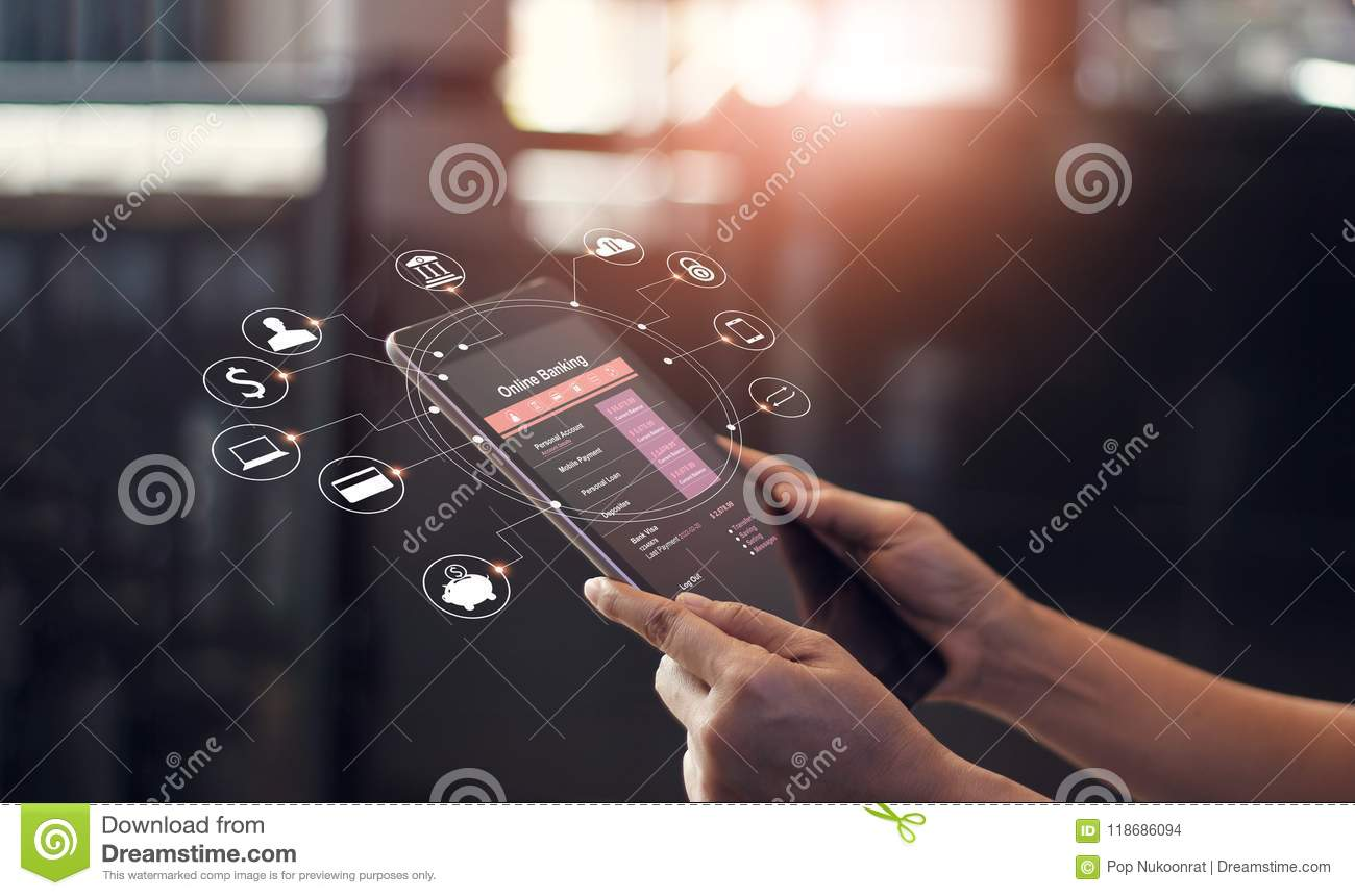 Man hand using online banking and icon on tablet screen device.