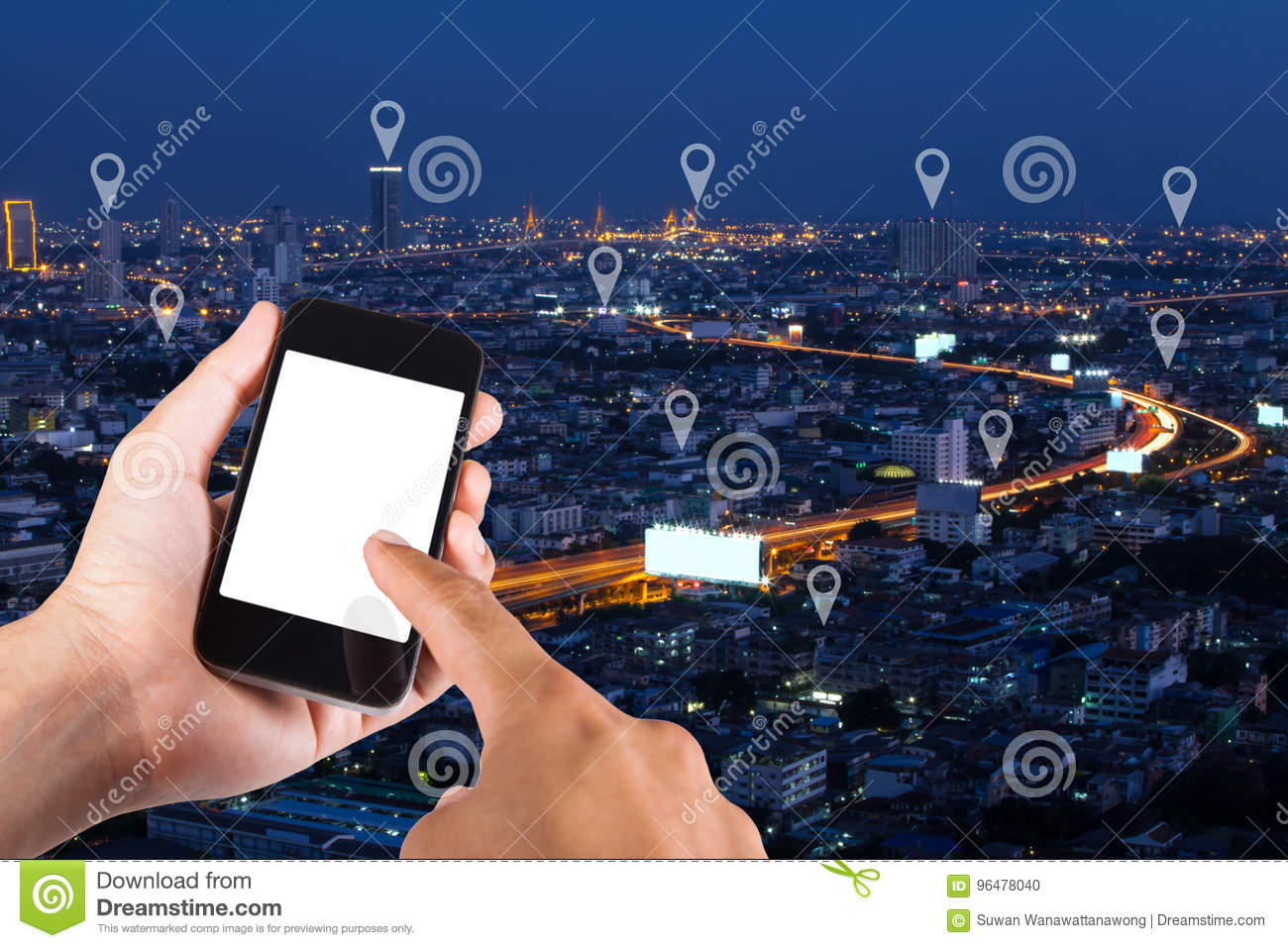 Man hand using smartphone searching location on map pin on top