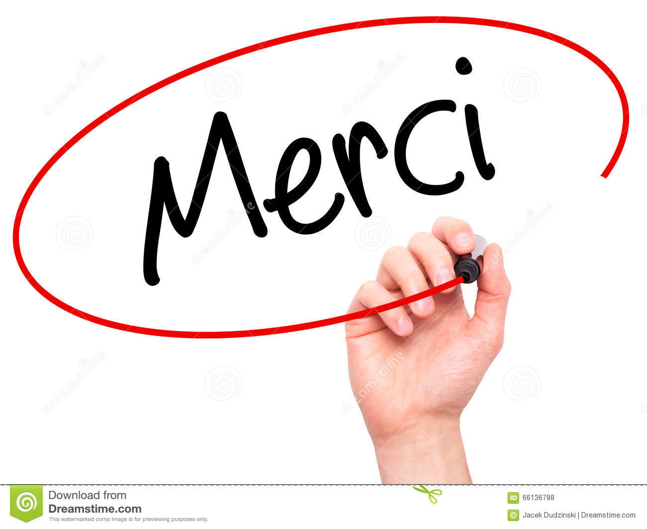 Man Hand Writing Merci Thank You In French With Black