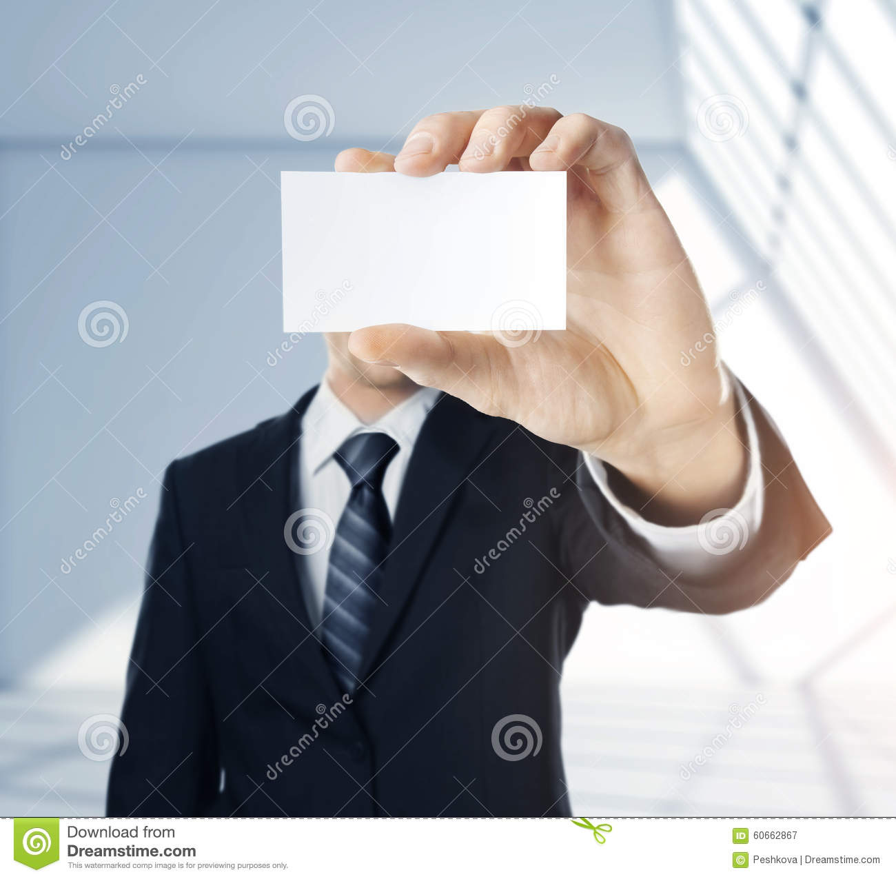 Man Handing A Blank Business Card Stock Image - Image of concept ...