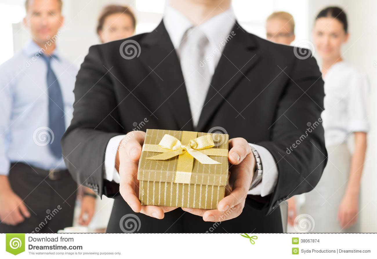Man Hands Holding Gift Box In Office Stock Photo - Image ...