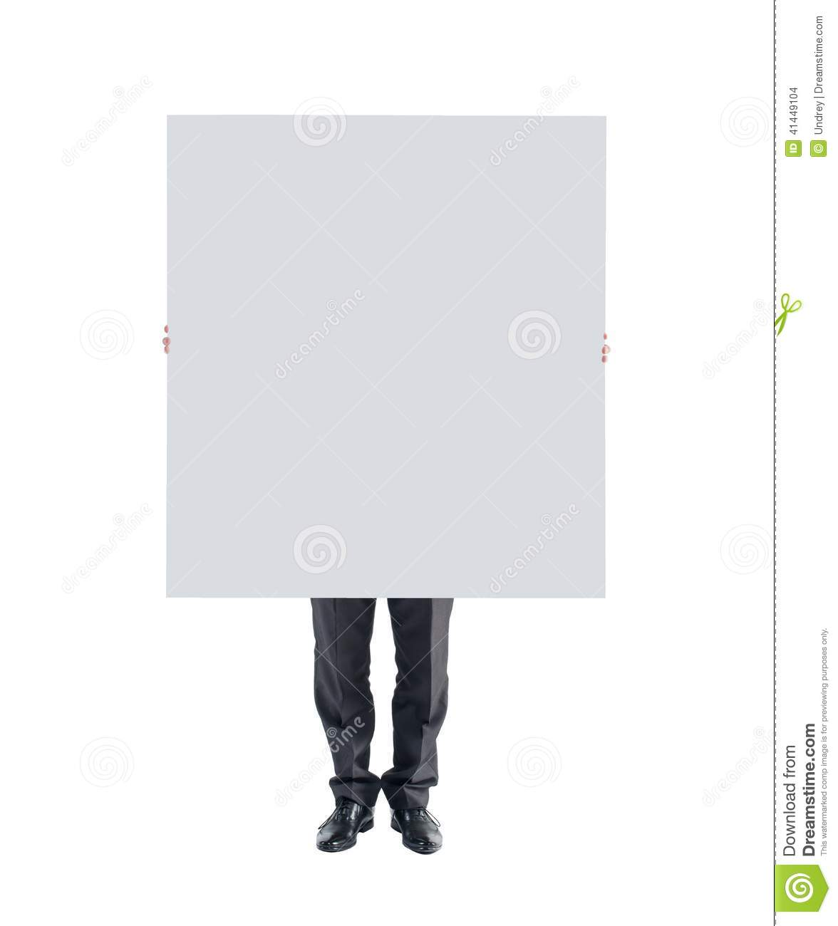 man hands holding showing white blank poster board stock photo