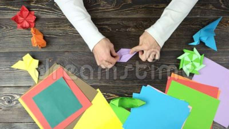 Man Hands Make Purple Paper Origami Stock Video Video Of Doing