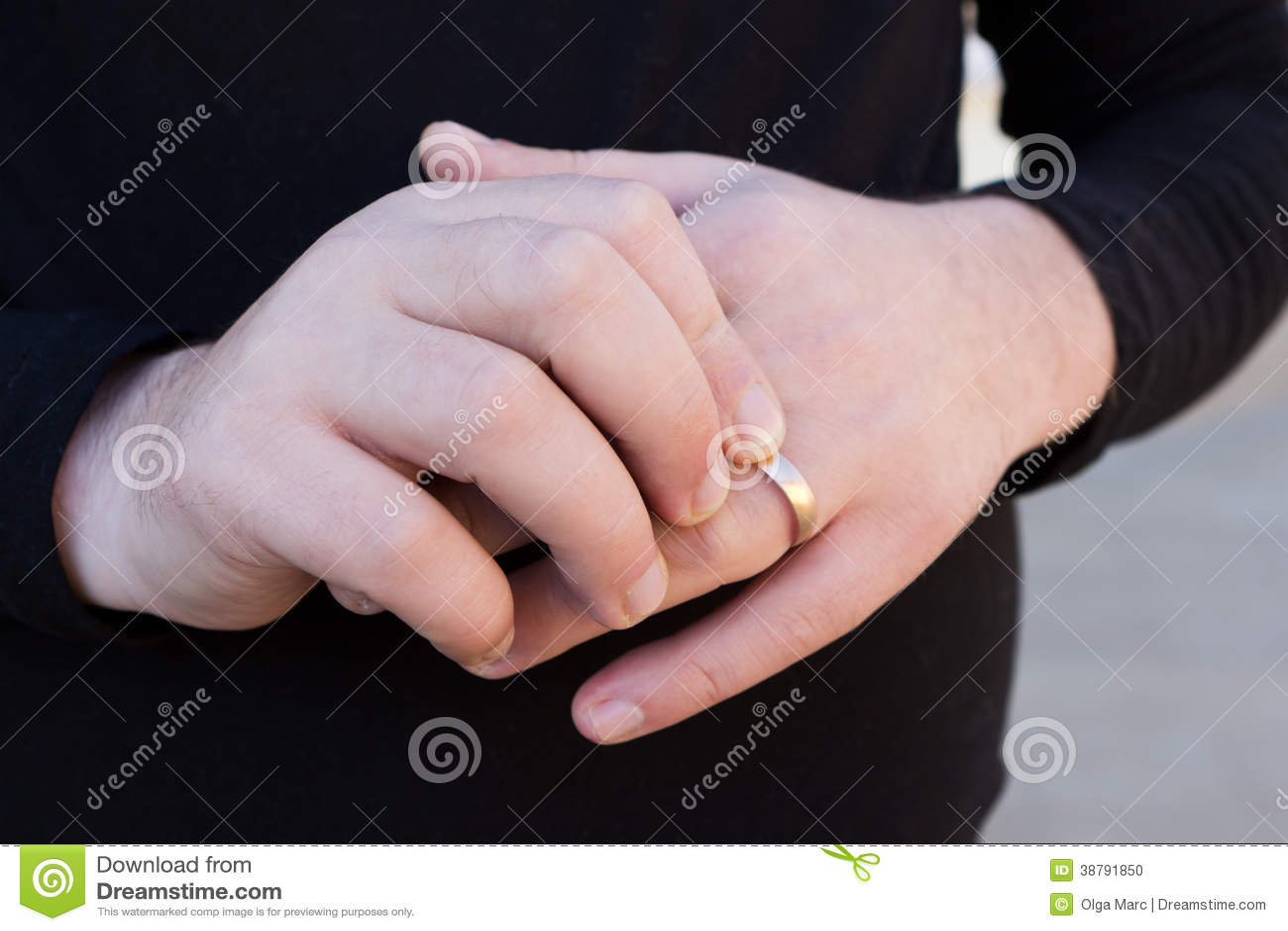 Man Hands With Wedding Ring Stock Photo - Image of wedding, closeup ...