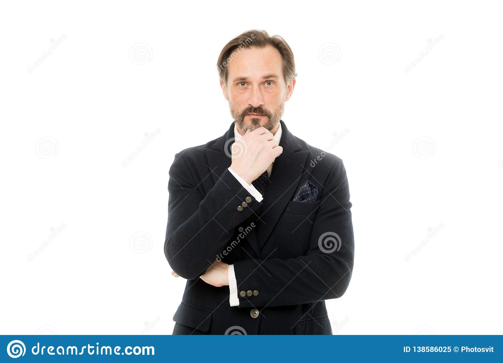 Man handsome mature fashion model wear fashionable suit on white background. Bespoke suit flatters every wearer. Perfect