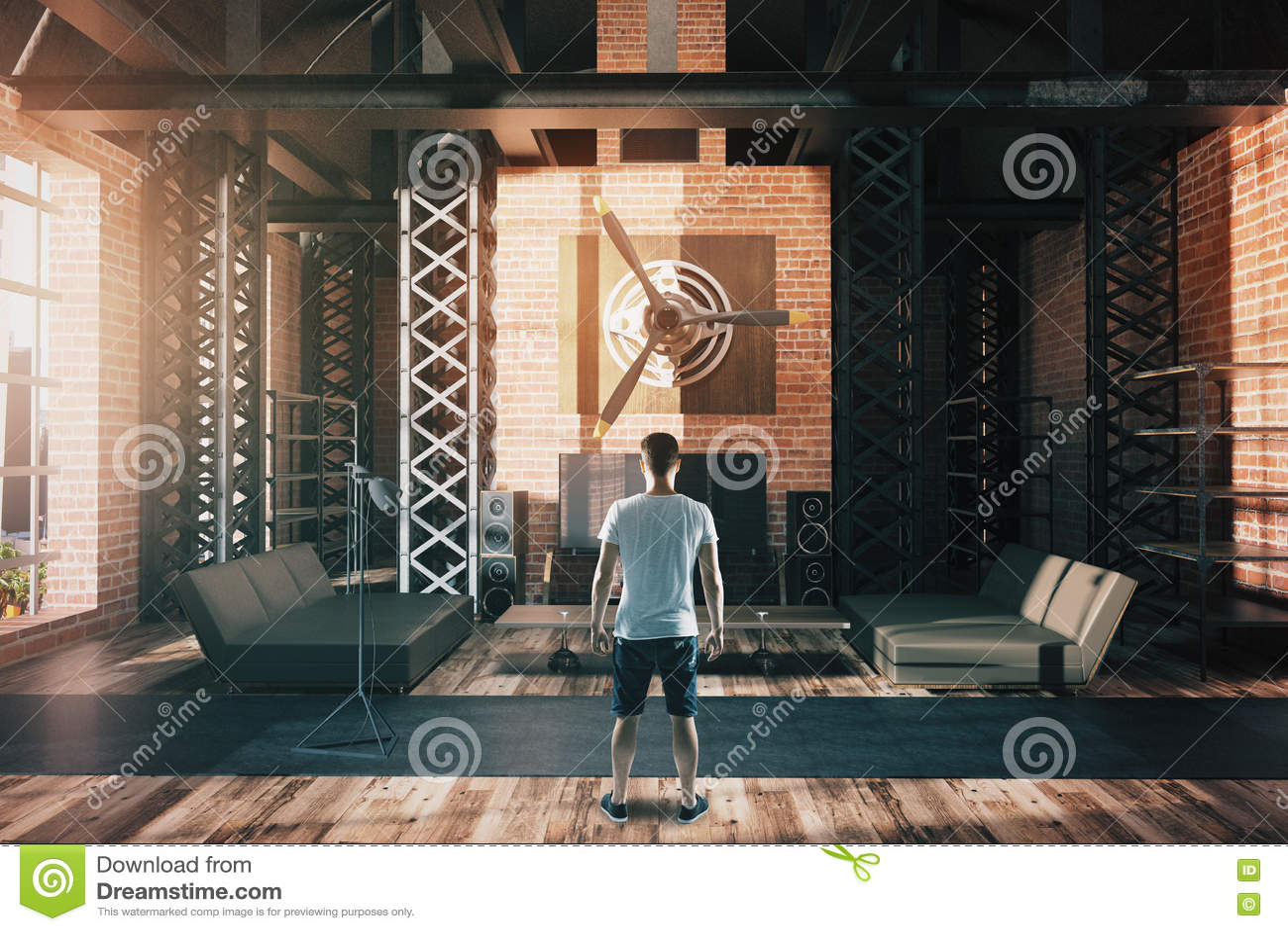 Man in hangar style interior