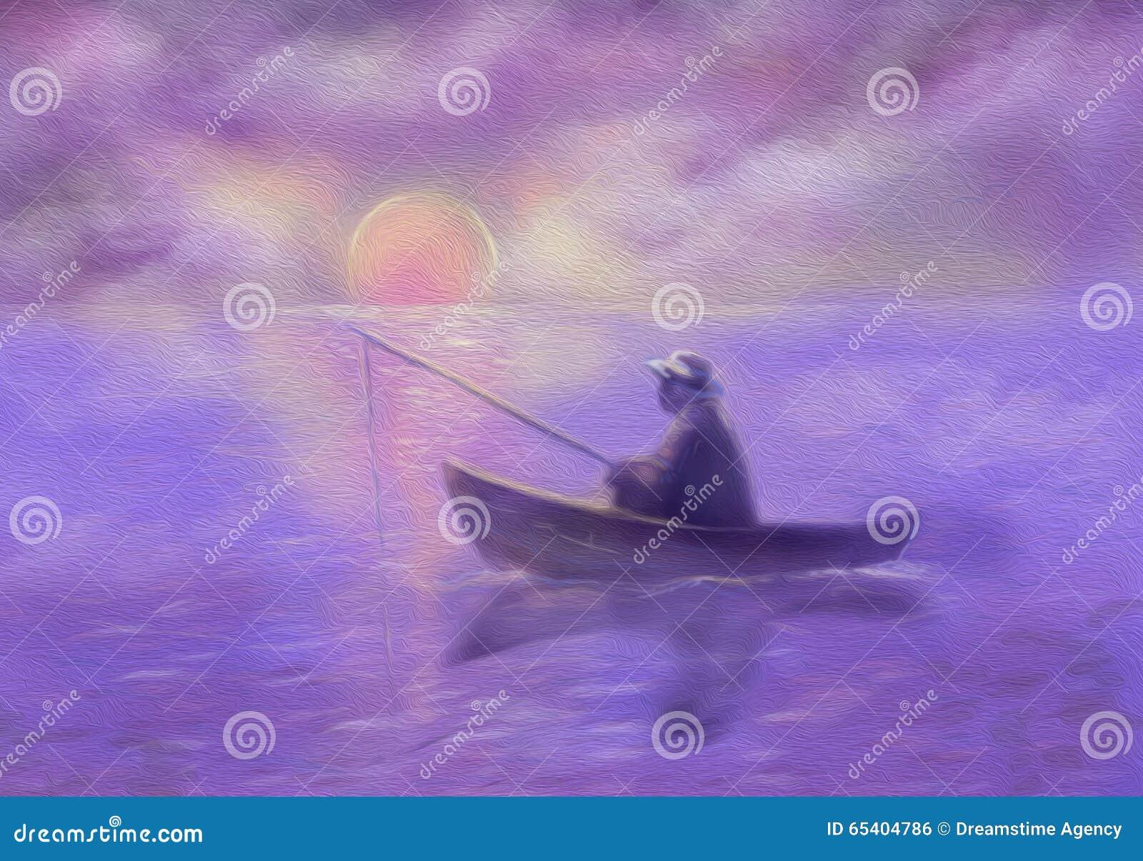 Man in hat catches fish at sunrise. Illustration.