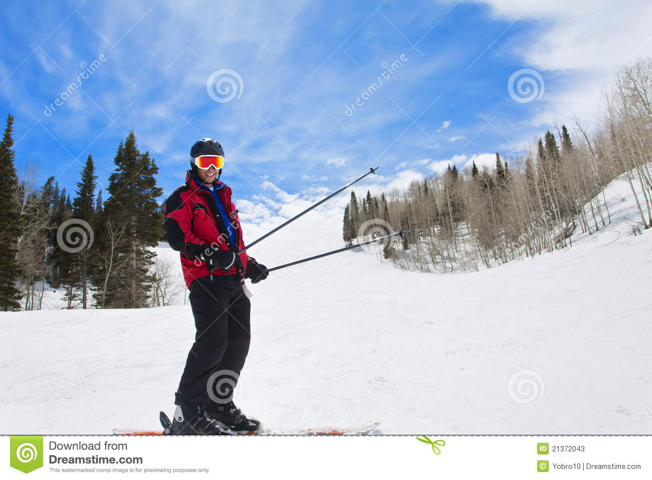 Man Having fun on the Ski Slopes