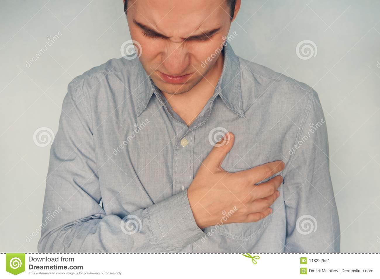 Man Having Heart Ache Holding Hand On Her Chest Heart Attack