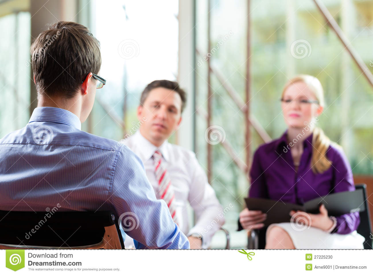 Man having an interview with manager
