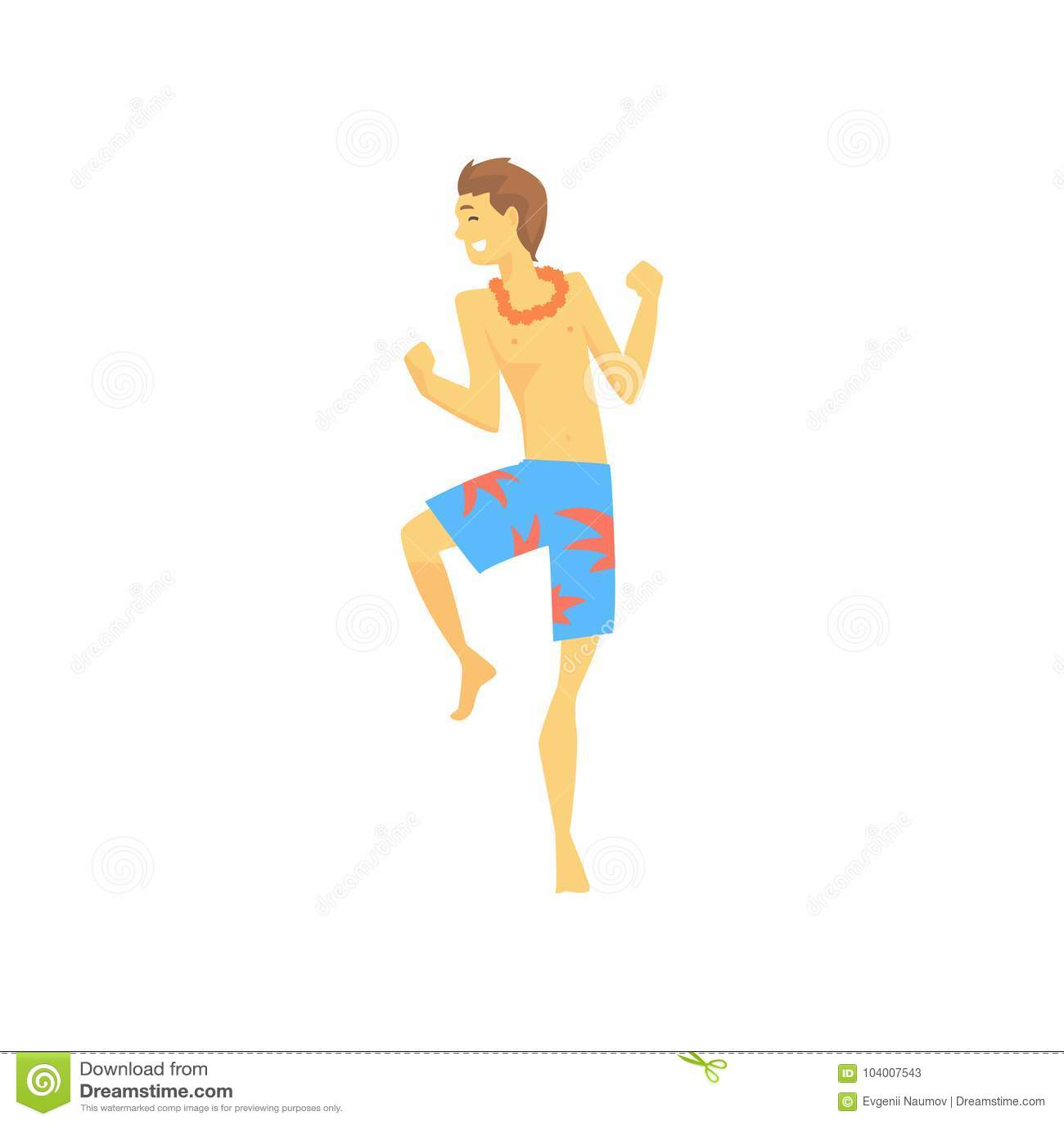 Man in hawaiian lei with bright colorful flowers dancing cartoon man in hawaiian lei with bright colorful flowers dancing cartoon vector illustration izmirmasajfo Gallery