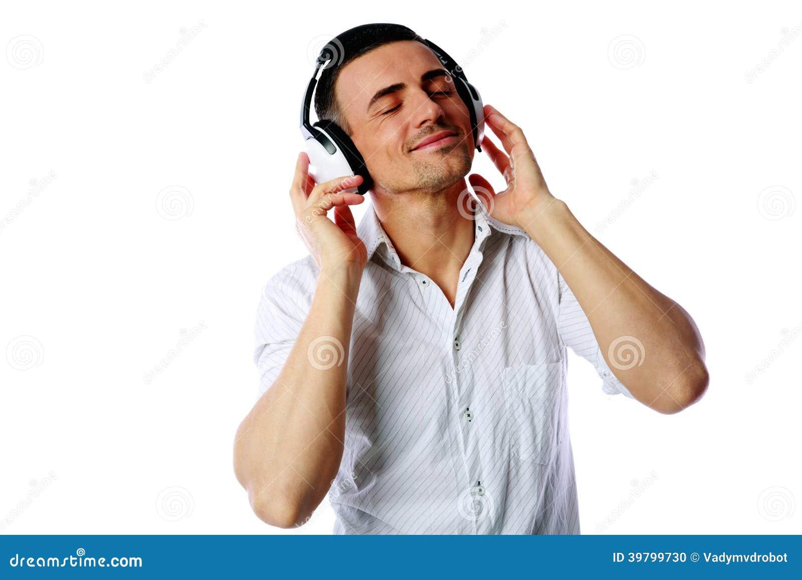 Man With Headphones Listening To Music Stock Photo - Image ...