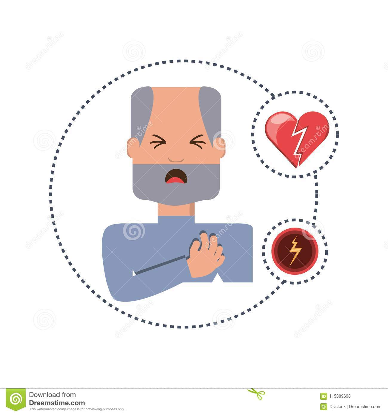 Man With Heart Attack Symptoms And Condition Stock Illustration