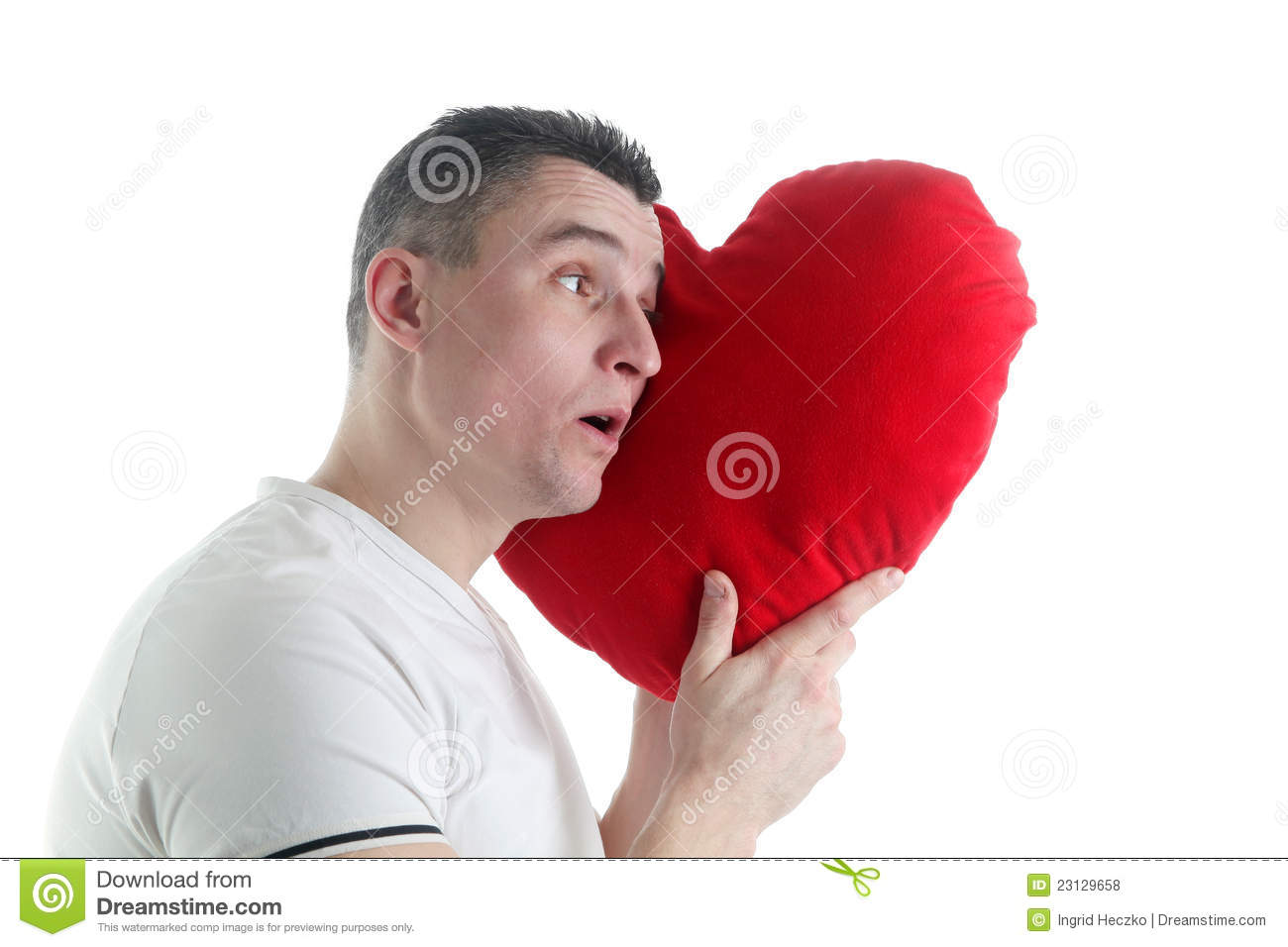 Man Shaped Pillow Man With A Heart Shaped Pillow Royalty Free Stock Photos Image