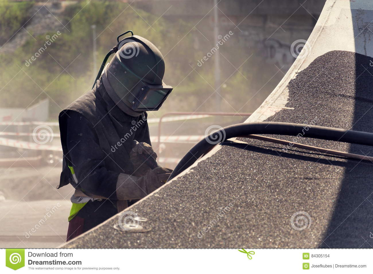 Man With Helmet Working On A Bridge Construction Stock Photo - Image