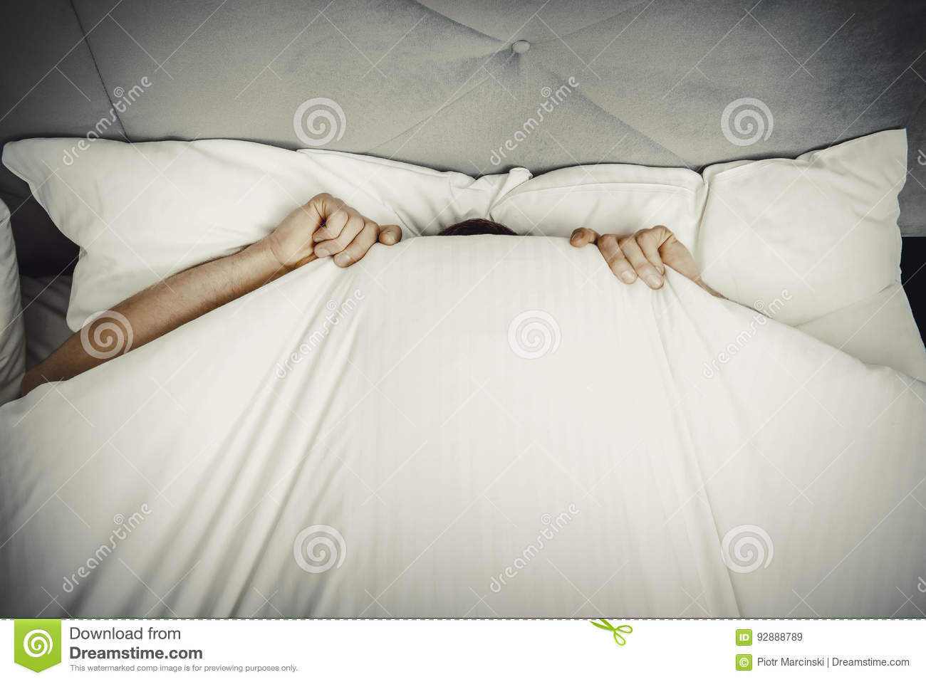 Captivating Download Man Hiding In Bed Under Sheets. Stock Image   Image Of Hide,  Looking