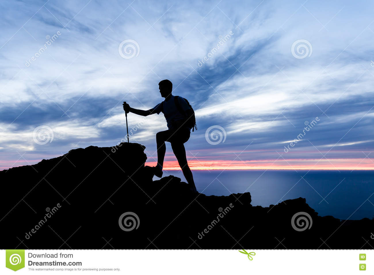 Man Hiking Silhouette In Mountains, Ocean And Sunset Stock ...