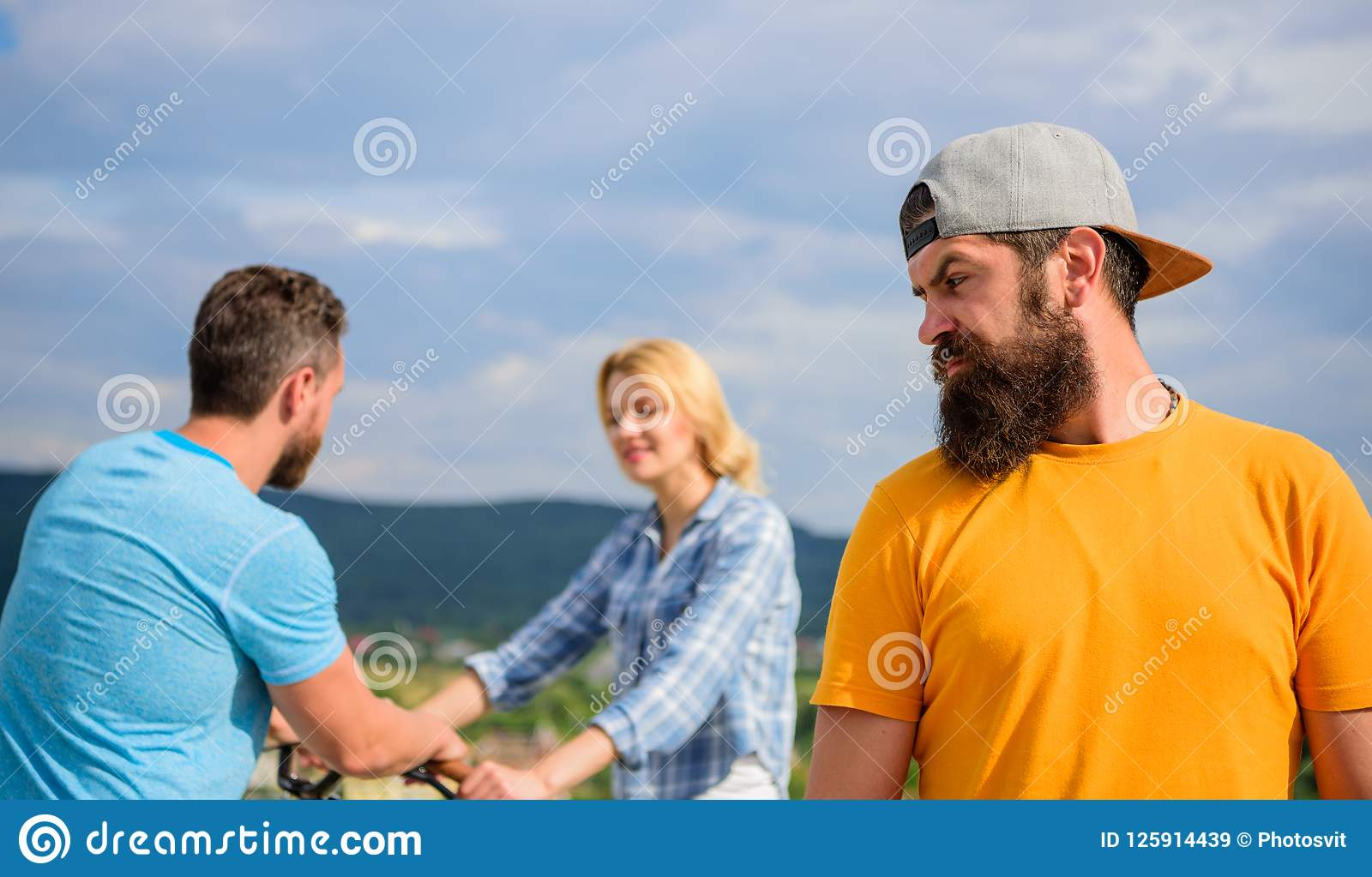 Man Hipster Feels Lonely Couple Dating Behind Him  No
