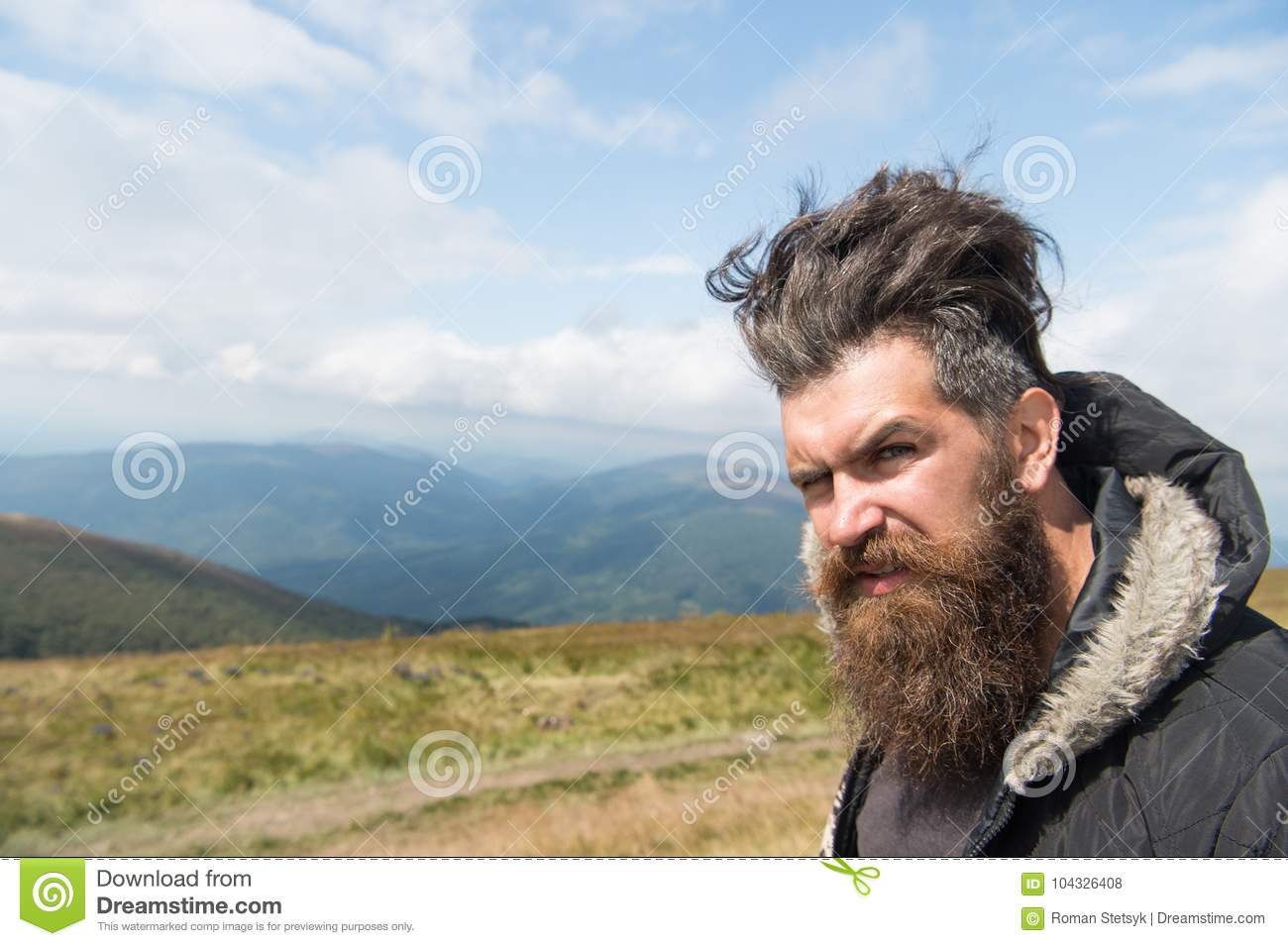 Tremendous Man Hipster With Long Beard Hair On Mountain Landscape Stock Photo Schematic Wiring Diagrams Amerangerunnerswayorg