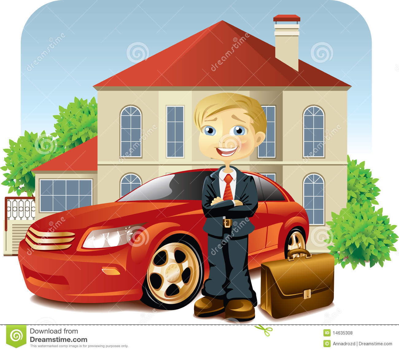 Man with his car and house stock vector illustration of for Car house