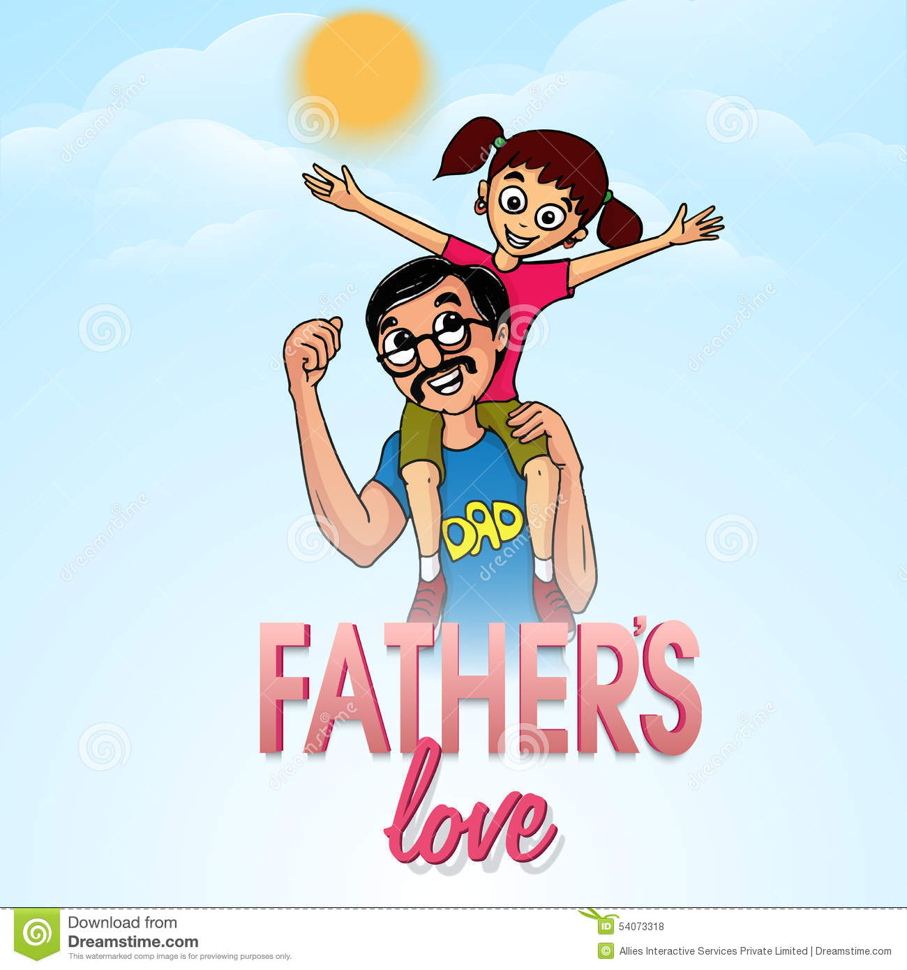 Man with his daughter for happy fathers day stock illustration man with his daughter for happy fathers day sciox Image collections