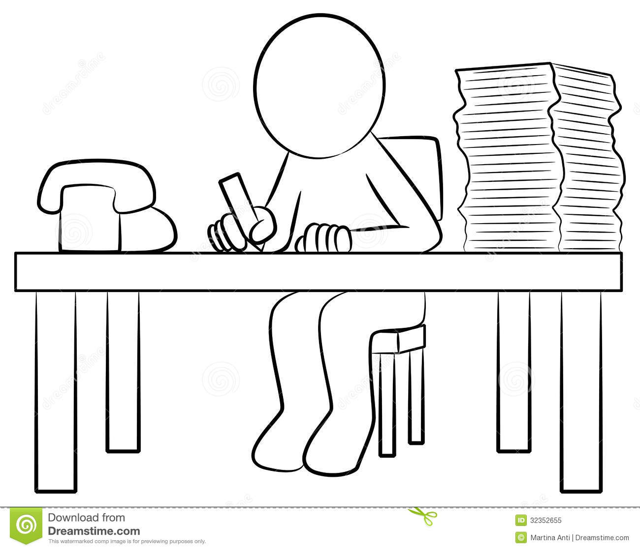 Schreibtisch clipart  Cartoon Office Worker His Desk Stock Illustrations – 435 Cartoon ...