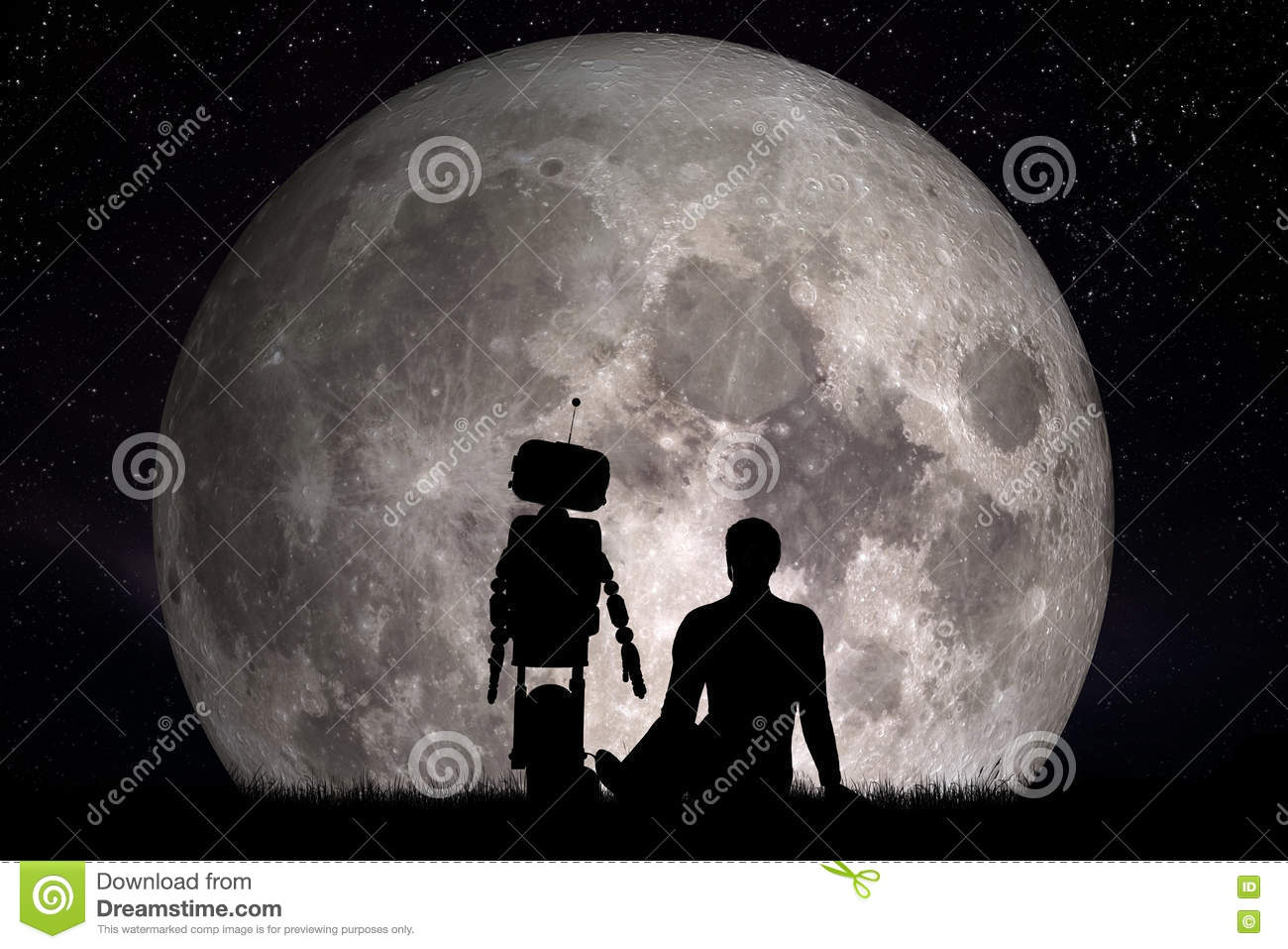 Man and his robot friend looking on moon. Future concept, artificial intelligence