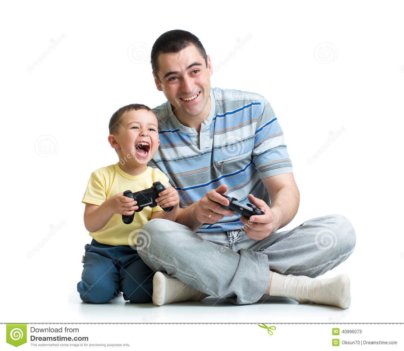 Man And His Son Child Play With A Playstation Toge Stock ...
