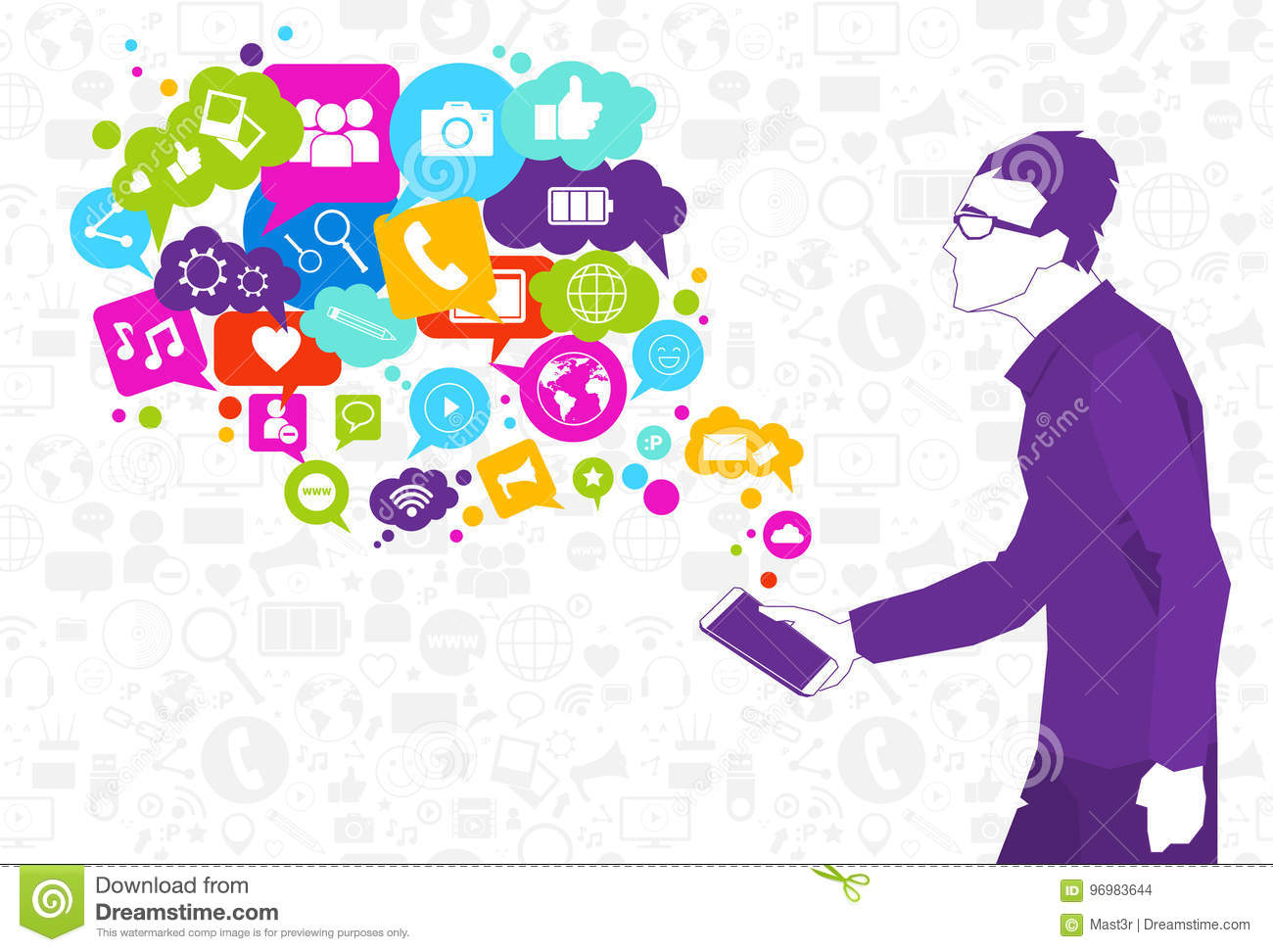 Man Hold Cell Smart Phone With Chat Bubble Of Social Media Icons Network Communication Concept