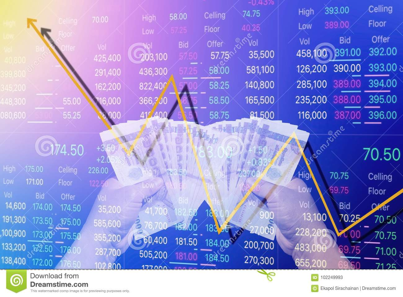 Man Hold Money With Progress Graph Of Stock  Stock Image