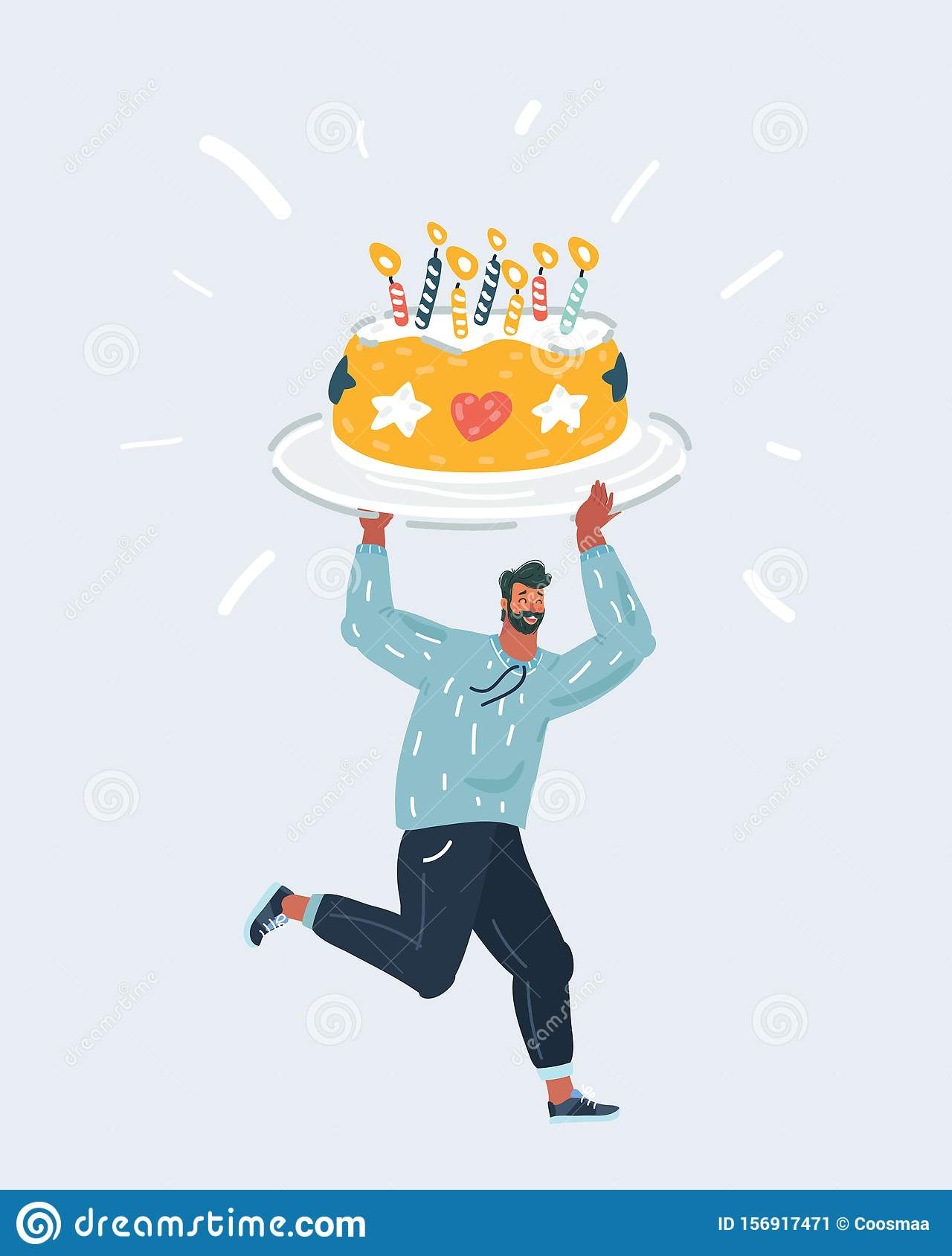 Astonishing Man Holding A Birthday Big Sweet Cake With Candles Stock Vector Funny Birthday Cards Online Fluifree Goldxyz