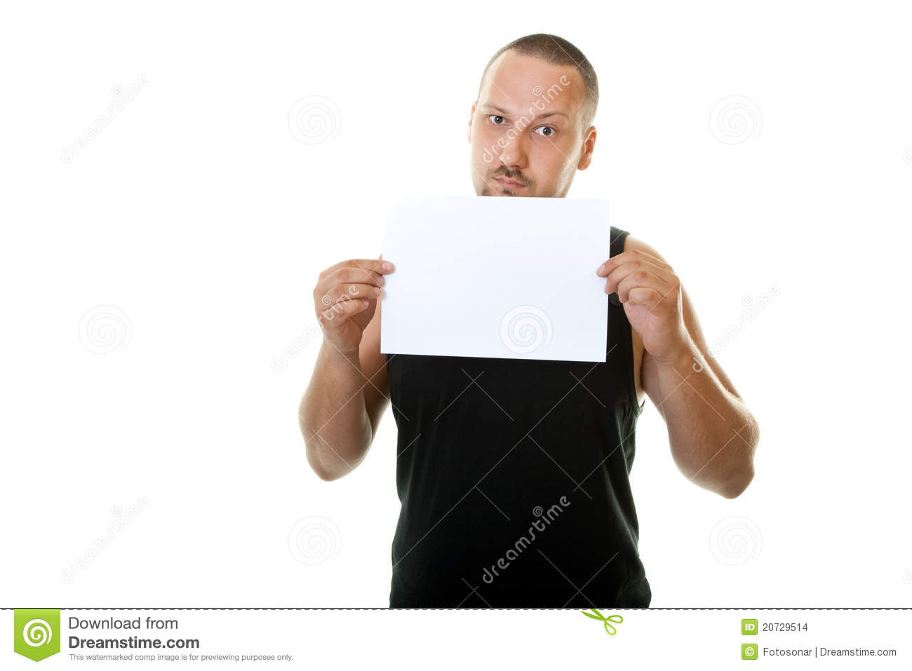 Man Holding Blank Paper Stock Images - Image: 20729514