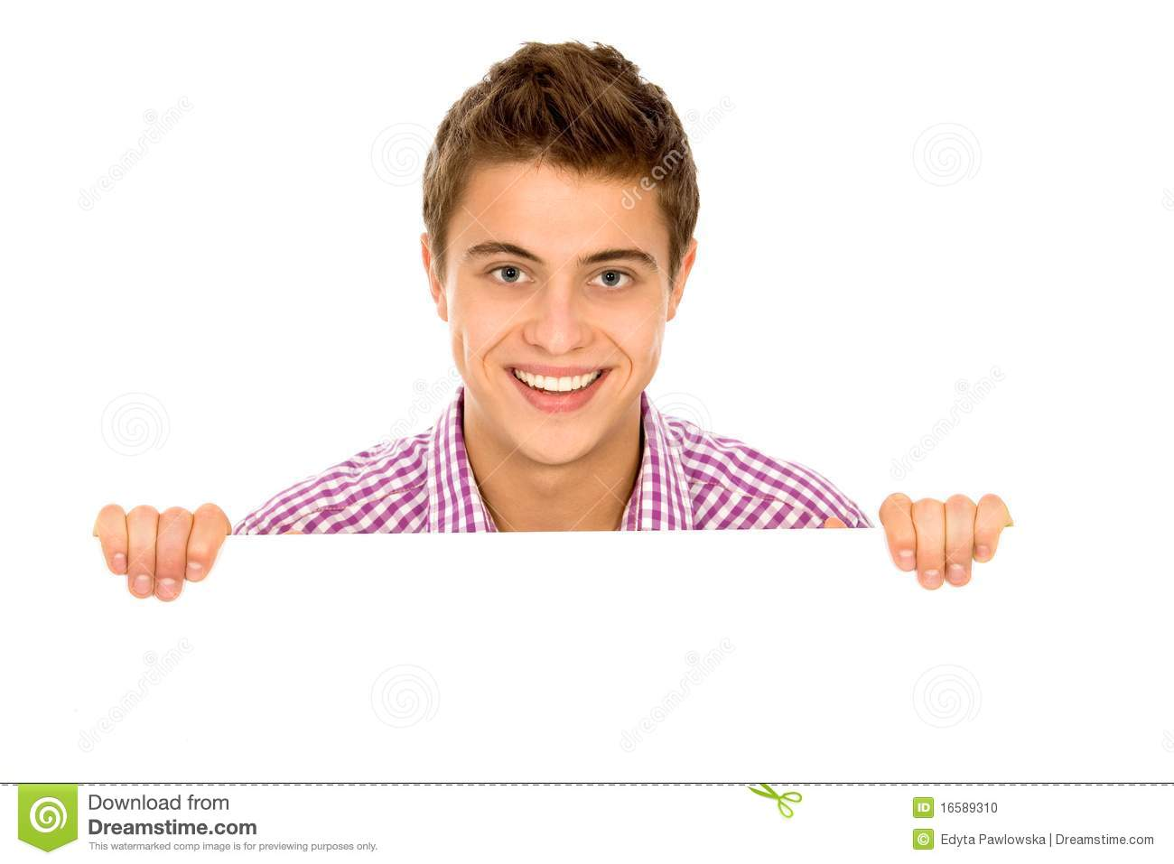 Man Holding Blank Poster Stock Photo - Image: 16589310