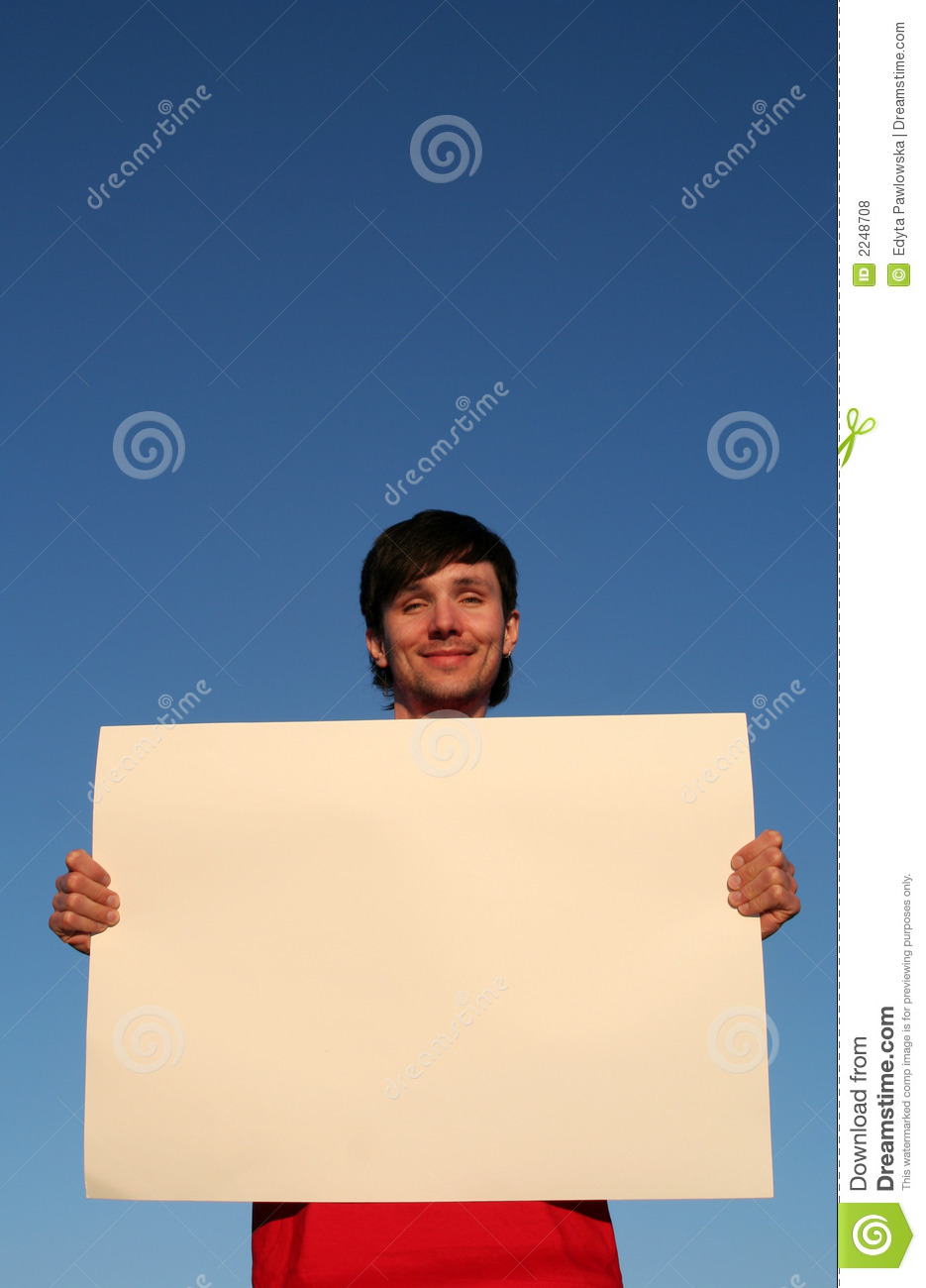 man holding blank poster board stock photo image of advertisement
