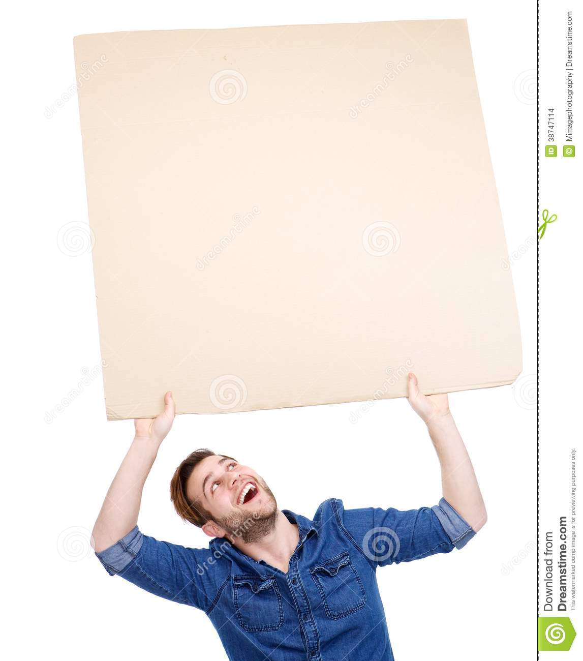 Man holding blank poster sign up