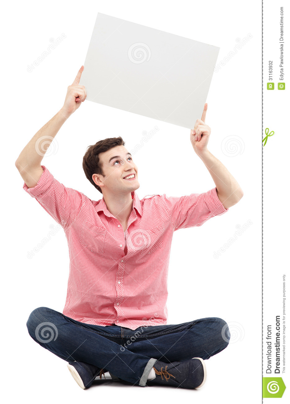 Man holding blank poster