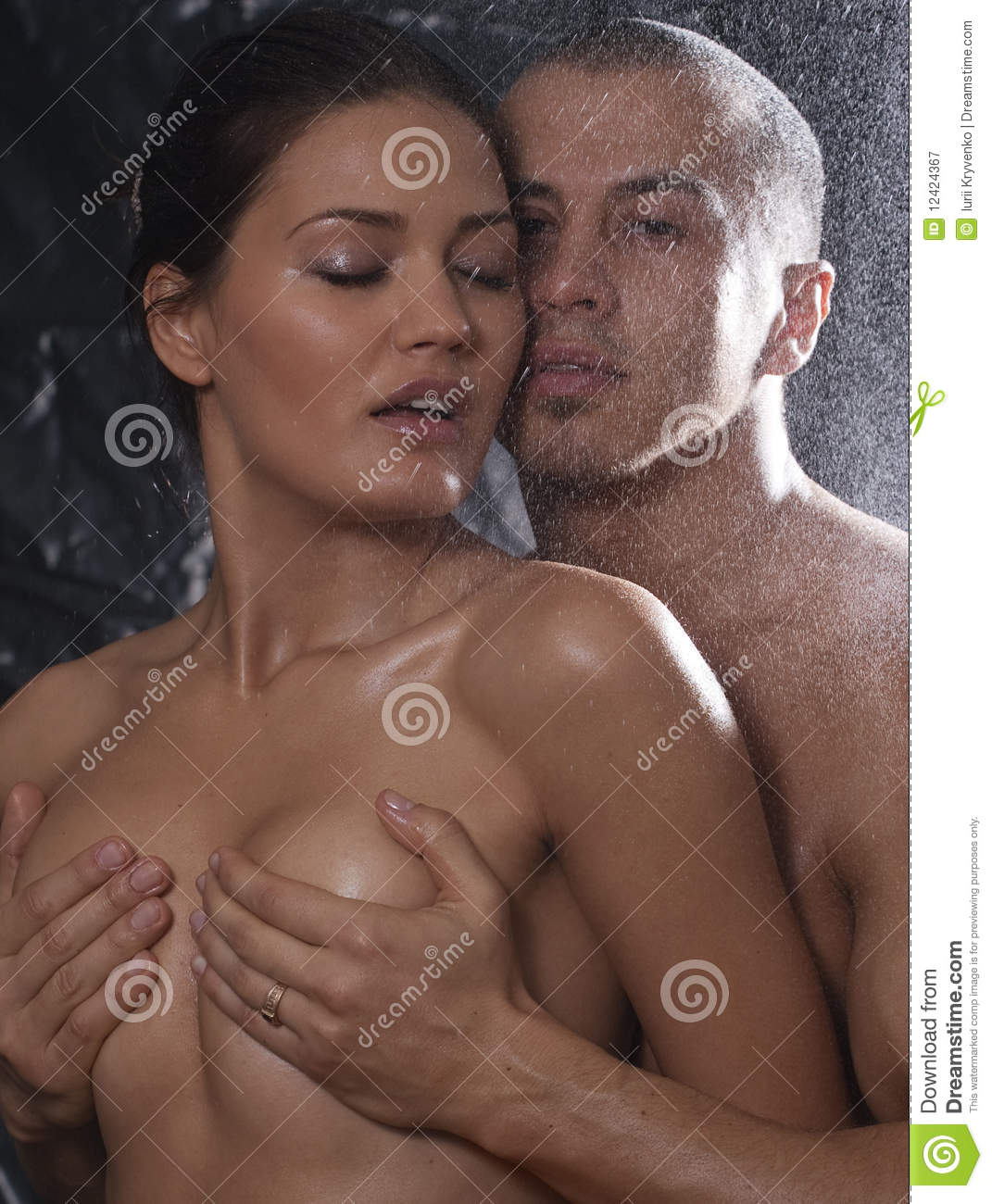 Man holding boobs