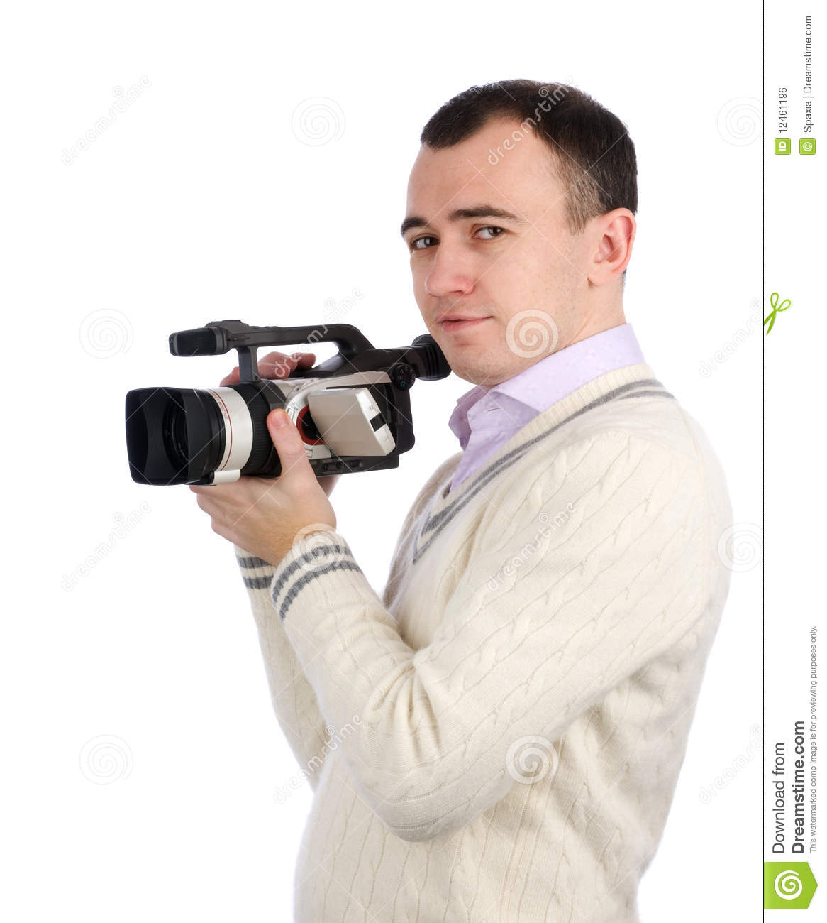 Man Holding A Camcorder Royalty Free Stock Image