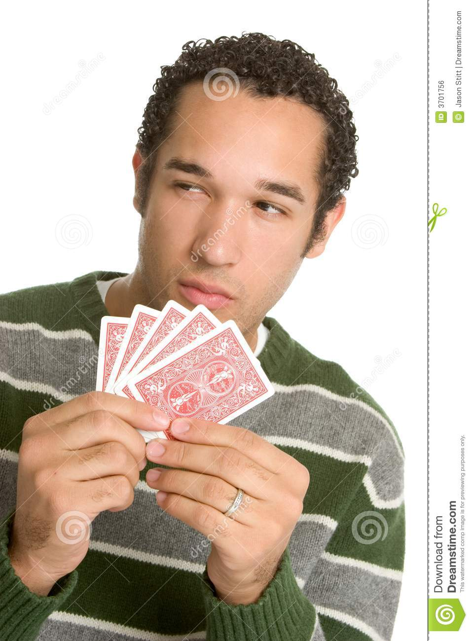 Man Holding Cards Royalty Free Stock Image