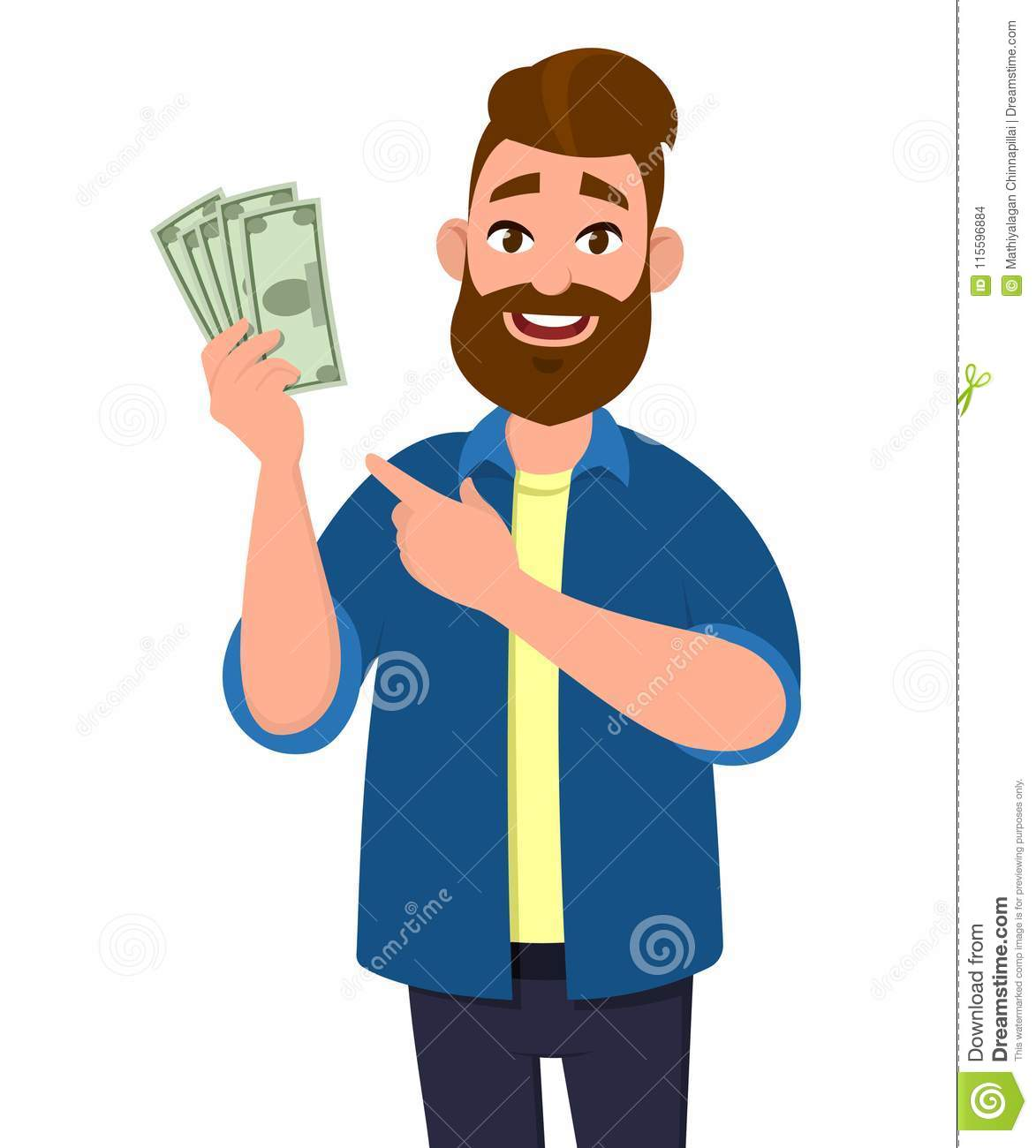 Man holding cash/money/currency notes in hand and pointing. Business and finance concept illustration.