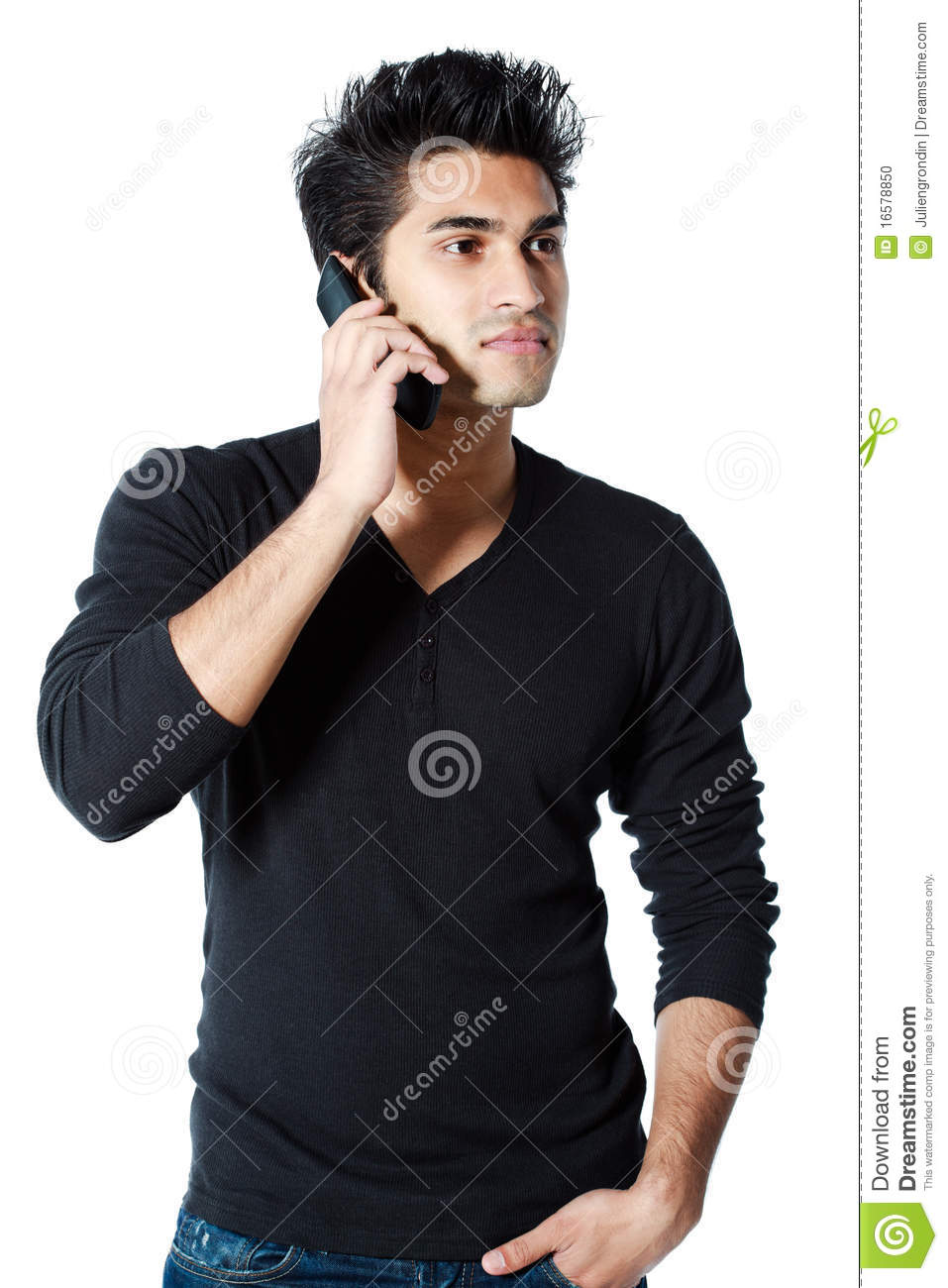 Man On Cell Phone : Man holding cell phone stock photo image of background
