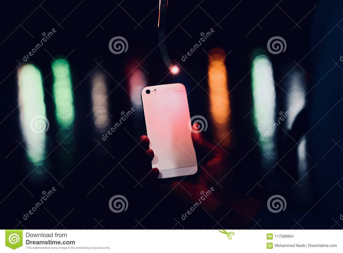 Download Man Holding A Cellphone In Hand  Object Photo Stock Photo - Image of banner, cellphone: 117589954