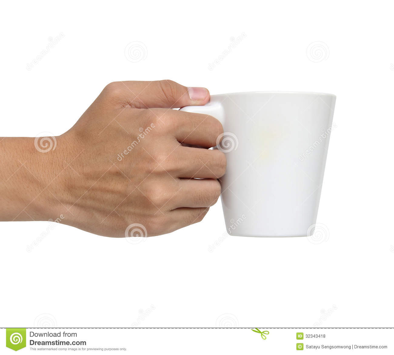 Man Holding A Ceramic Cup Isolated Over White Royalty Free