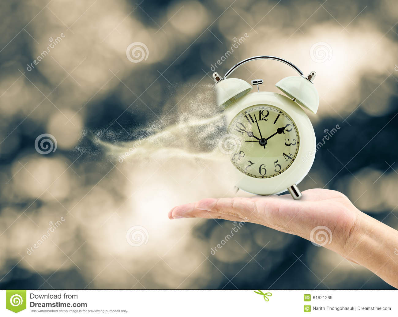 Man holding a clock in his hand And lost time