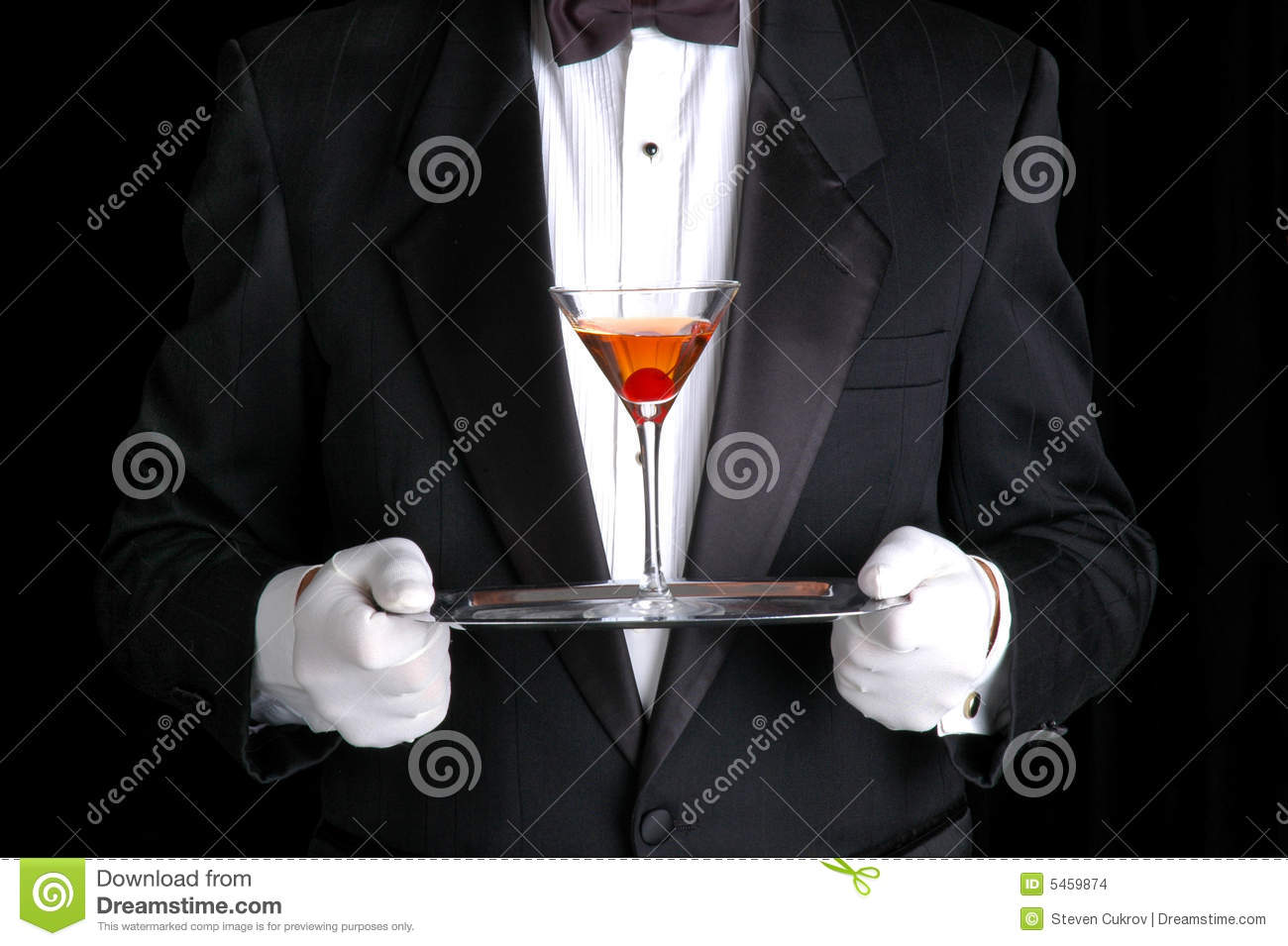 Man Holding a Cocktail on Silver Tray