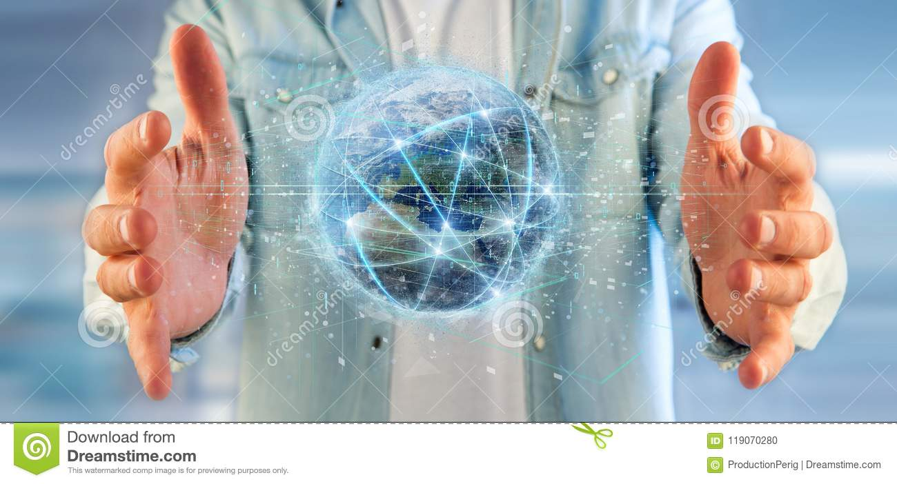 Man holding Connection around a world globe 3d renderin