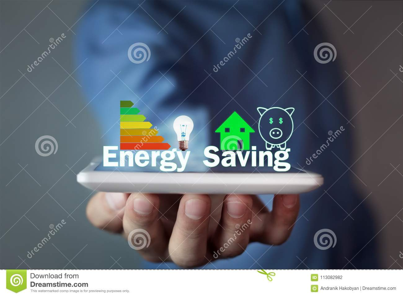 Man holding Energy Saving concept.