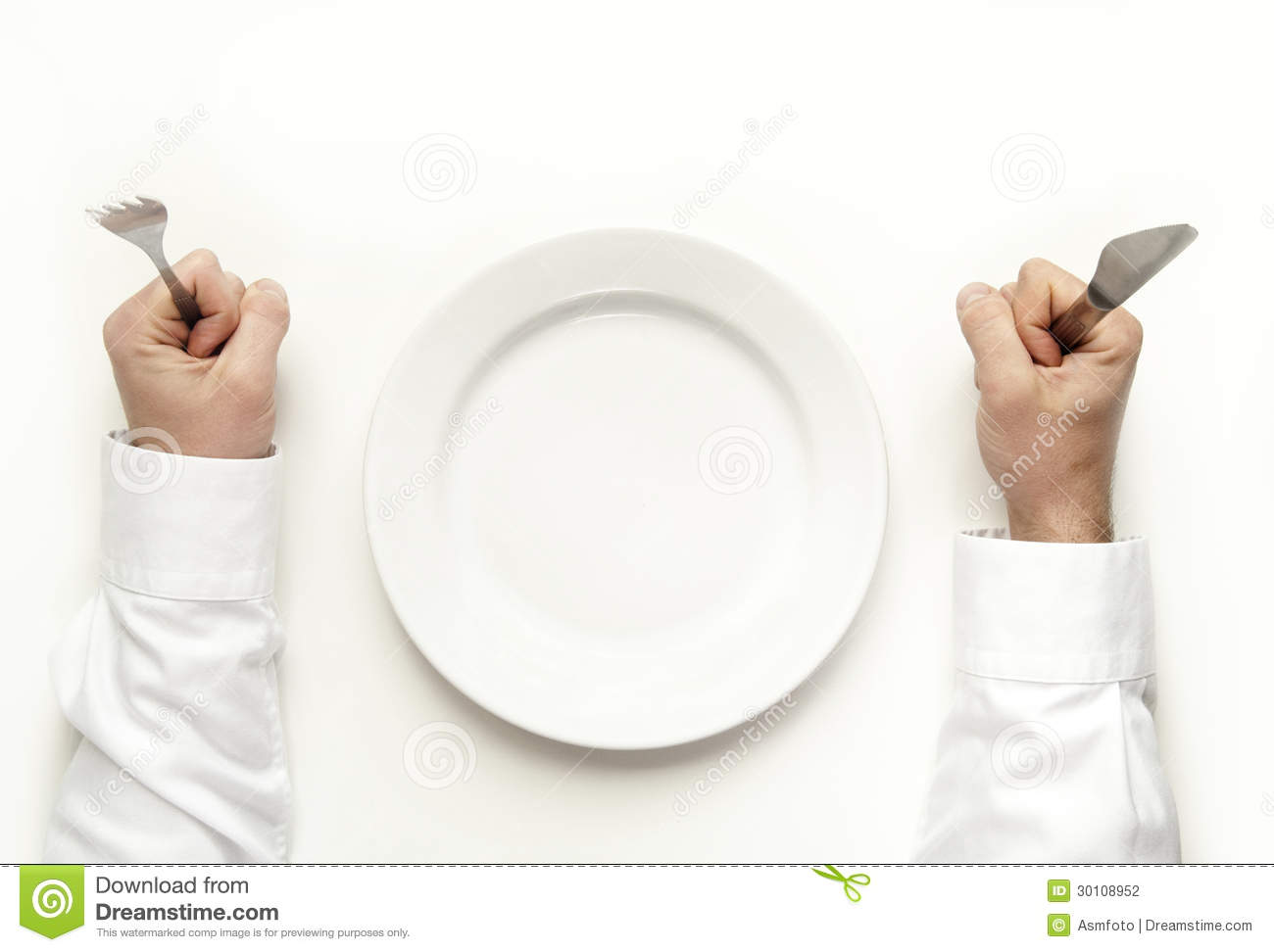man holding fork and knife isolated on white stock photo