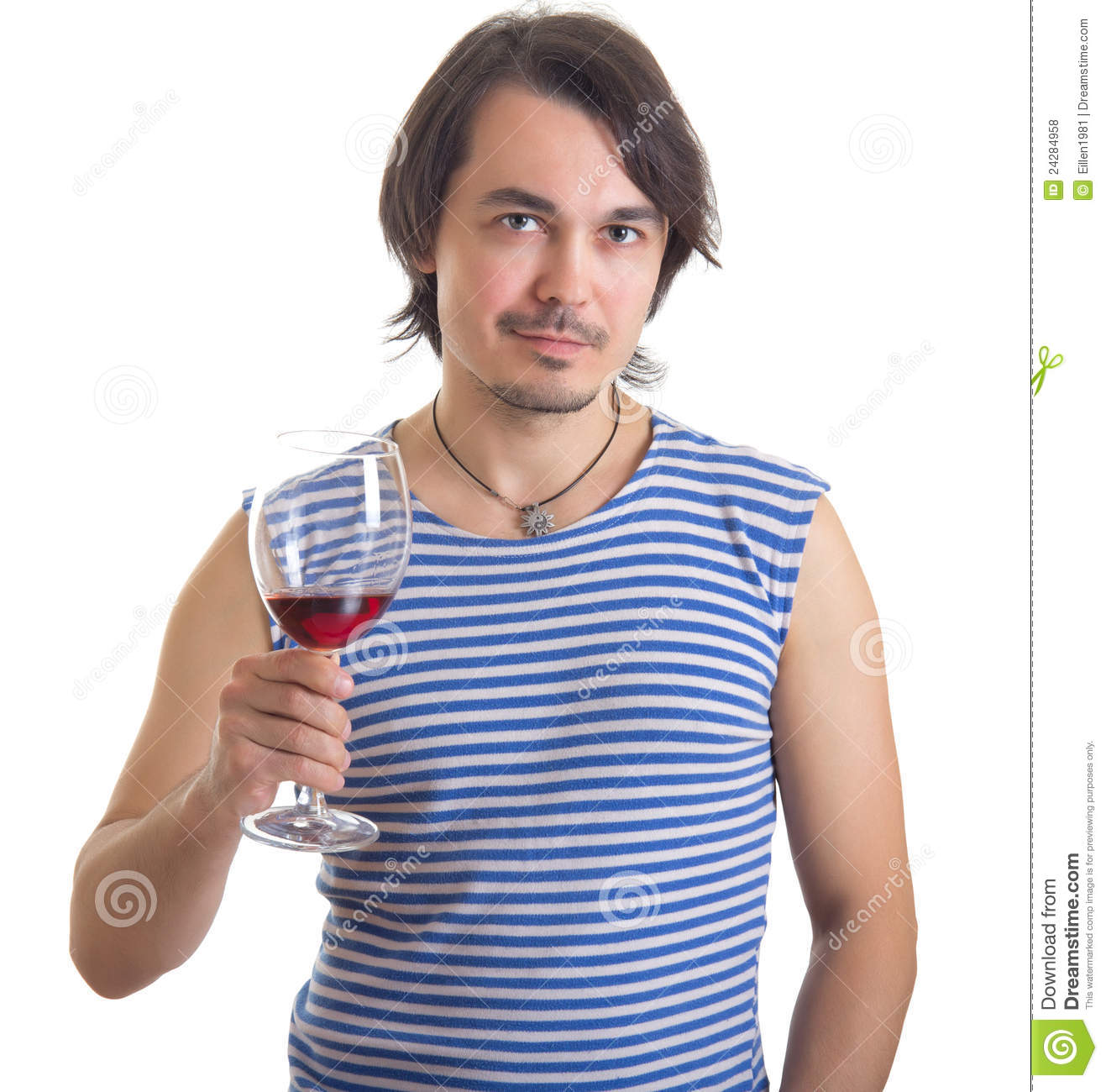 Man Holding A Glass Of Wine, Isolated On White Stock Photo